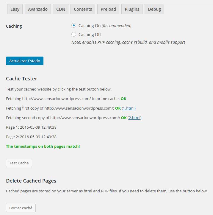 activar la cache en wp super cache