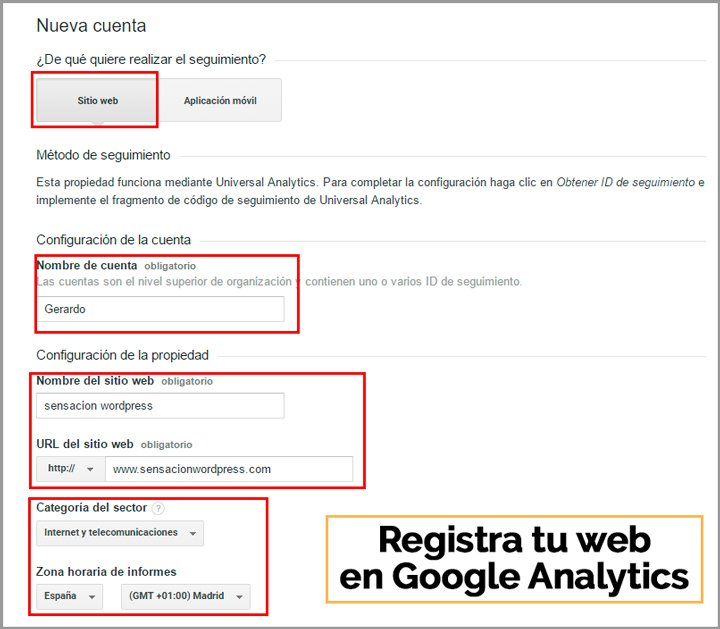 registra tu web en google analytics