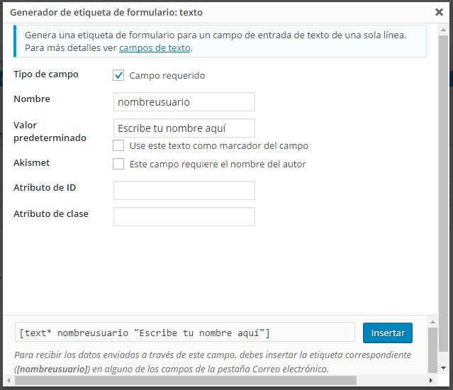 configuracion del campo de formulario de texto en contact form 7