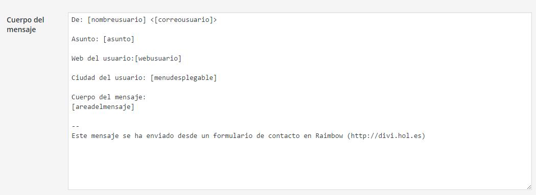 configuracion cuerpo del mensaje tutorial contact form 7