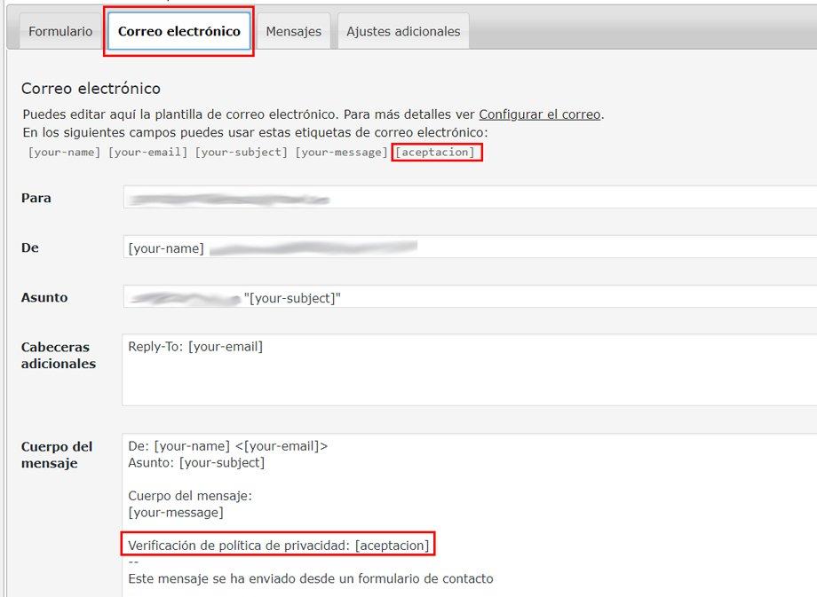 incluir ver casilla de verificación en contact form 7