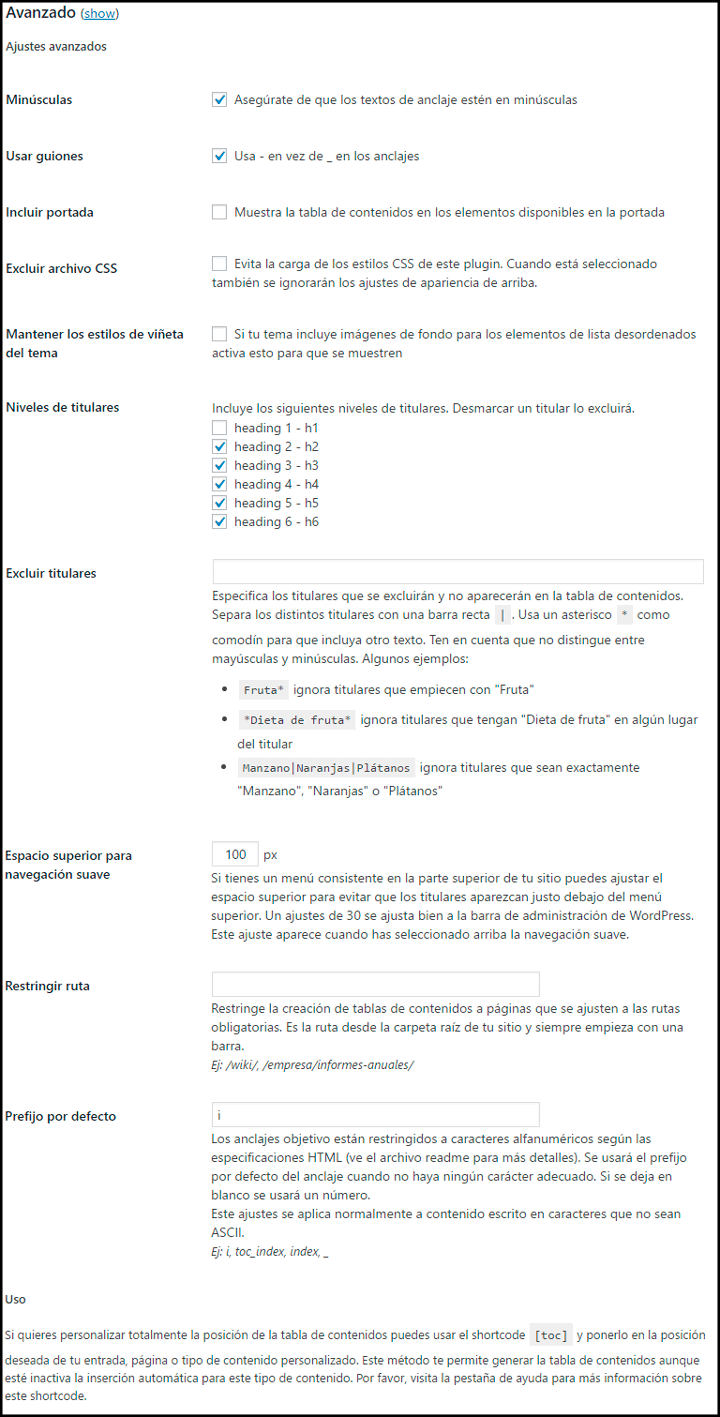 ajustes avanzados de la tabla de contenidos table of contents plus plugin wordpress