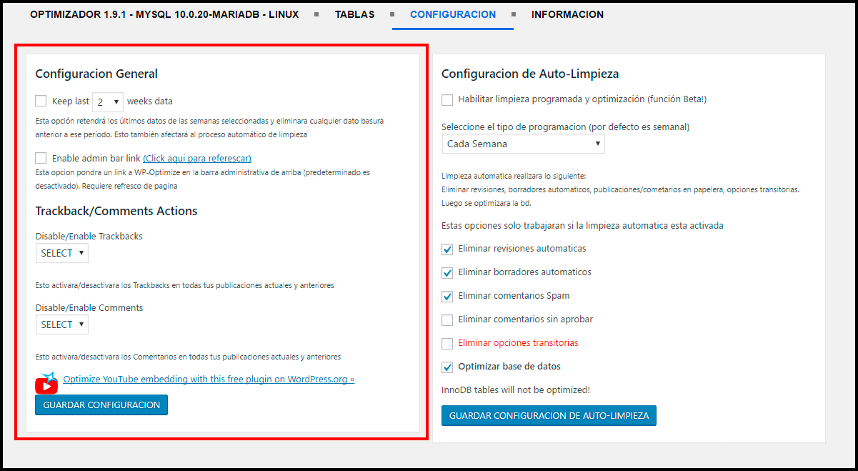 configuración avanzada de wp-optimize plugin para limpiar la base de datos en wordpress