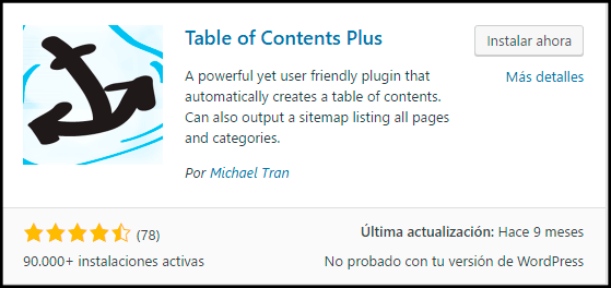 instalar tutorial table of contents plus plugin wordpress