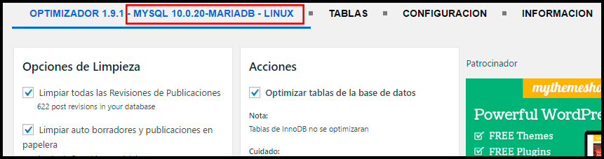 muestra el tipo de la base de datos con wp optimize optimizacion de la base de datos en wordpress