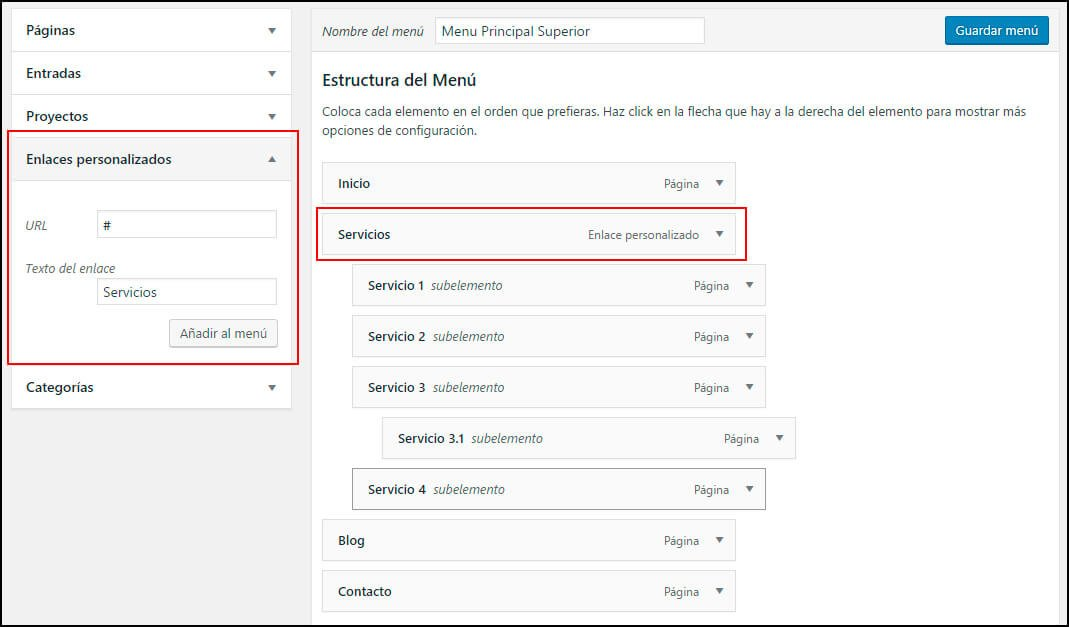 configurar menu wordpress
