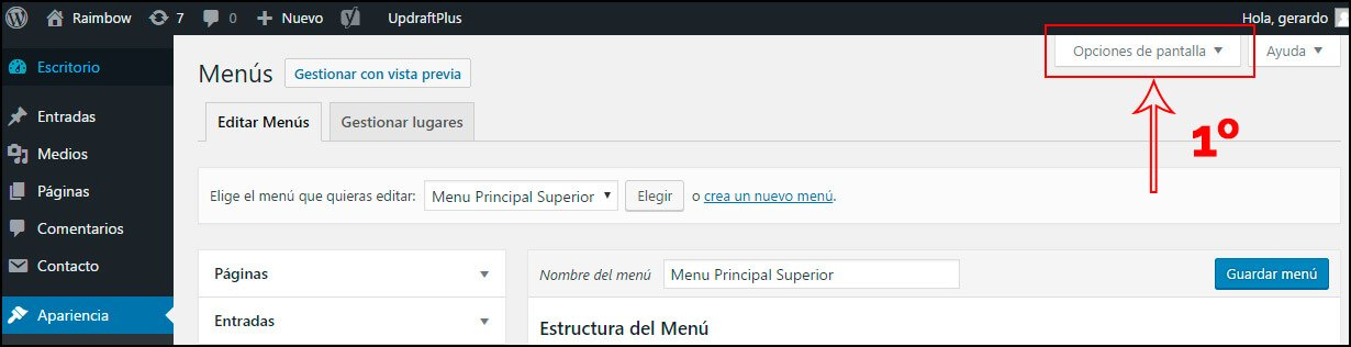 activar opciones menu wordpress