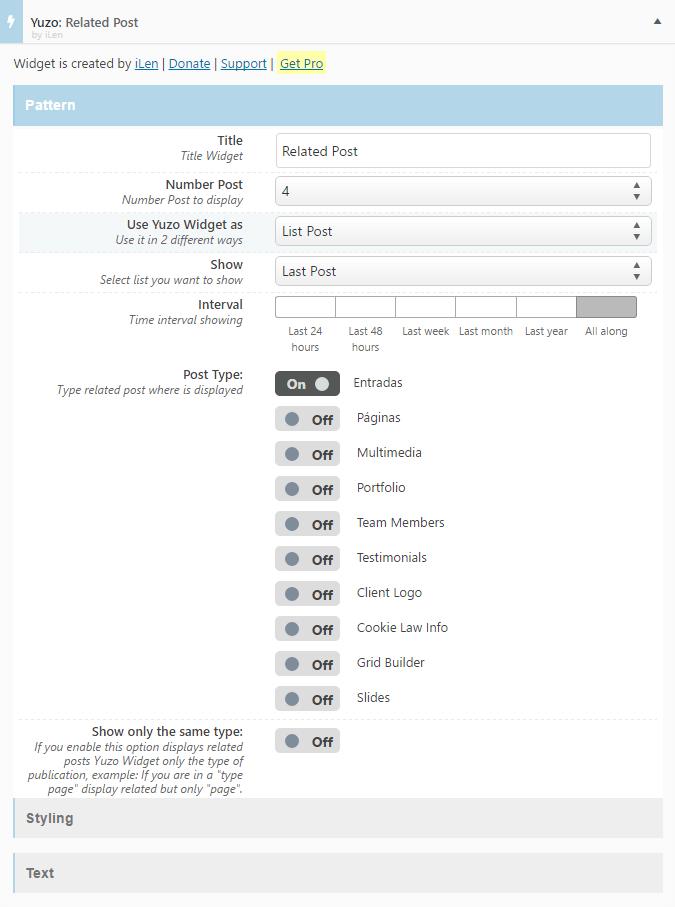widget de post artículos relacionados en wordpress