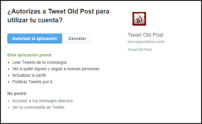 autorización de twitter en revive old post pro tutorial plugin wordpress