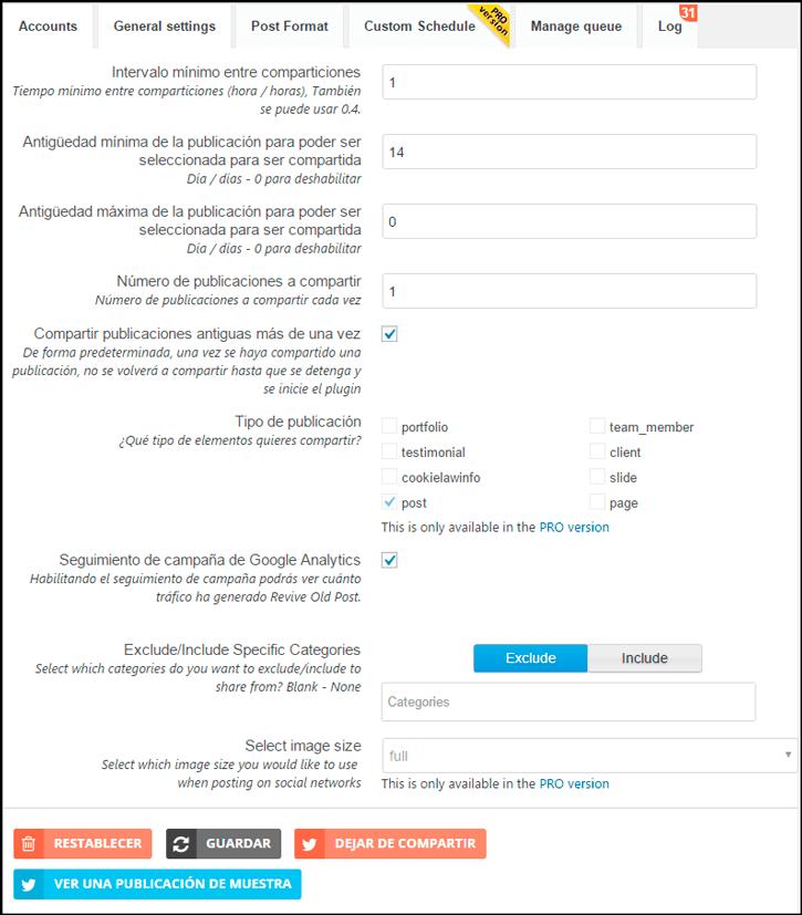configurar opciones generales tutorial revive old post pro