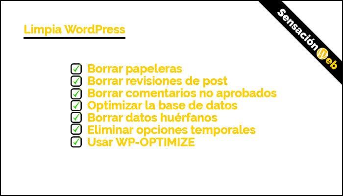 optimiza la velocidad base de datos wordpress