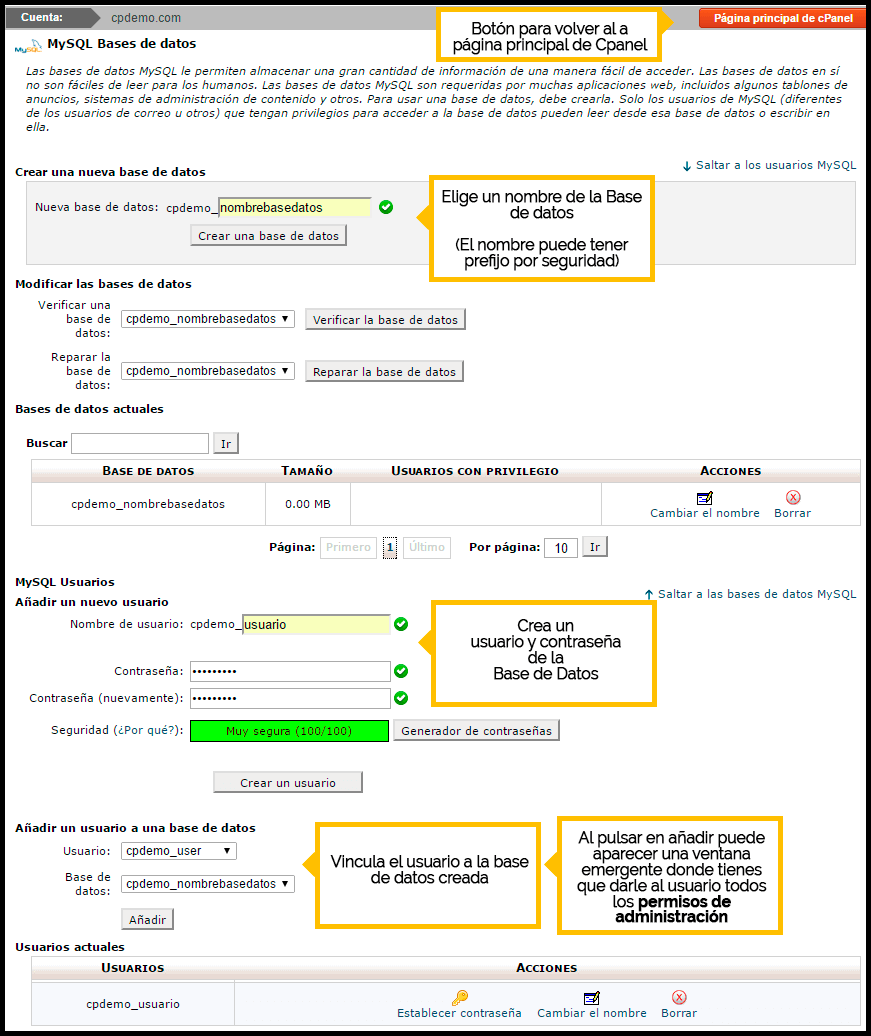como crear una base de datos en cpanel para instalar wordpress