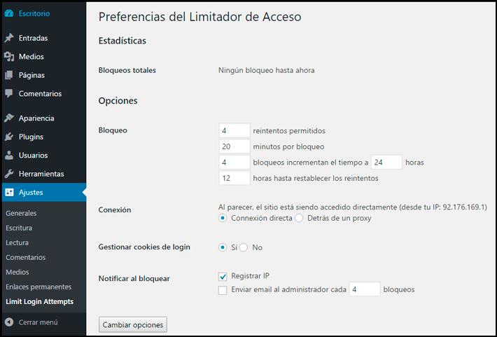 como limitar los accesos de sesión en wordpress