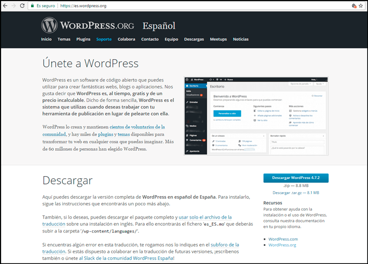 descargar wordpress