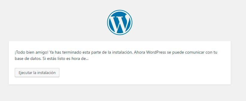 ejecutar la instalacion de WordPress
