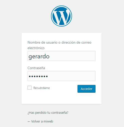 instalar wordpress login