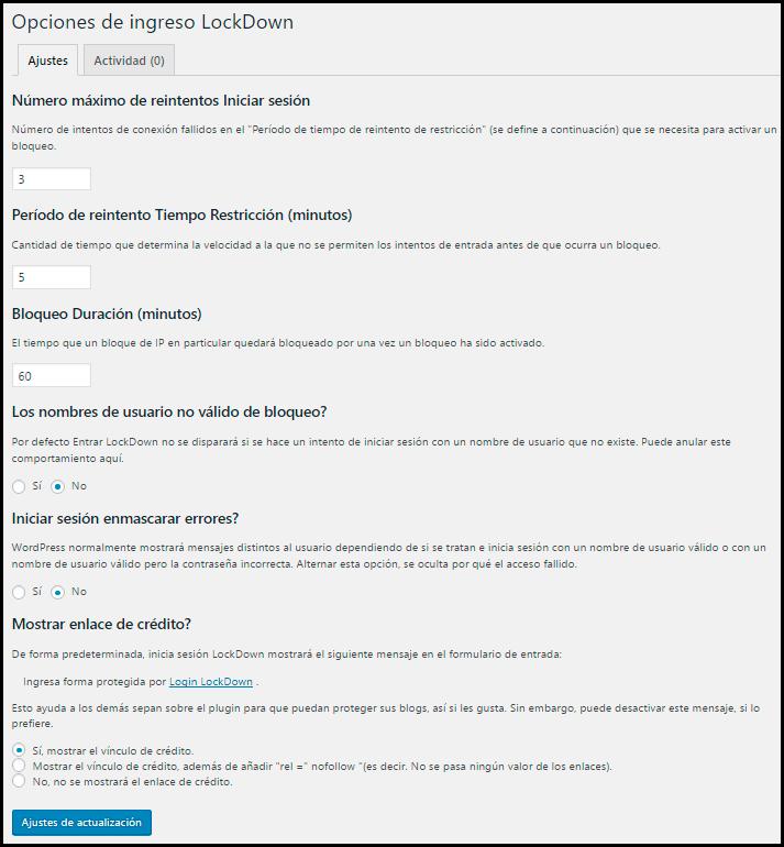 opciones de intento de sesion limitados con login lockdown