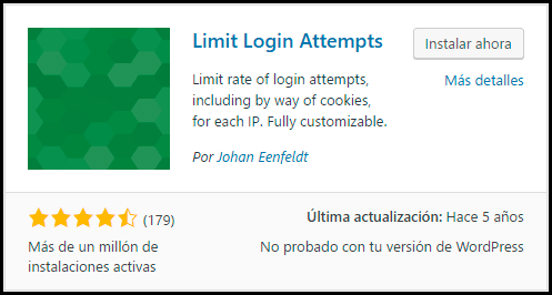 instalar plugin limit login attempts para limitar los accesos al login wordpress