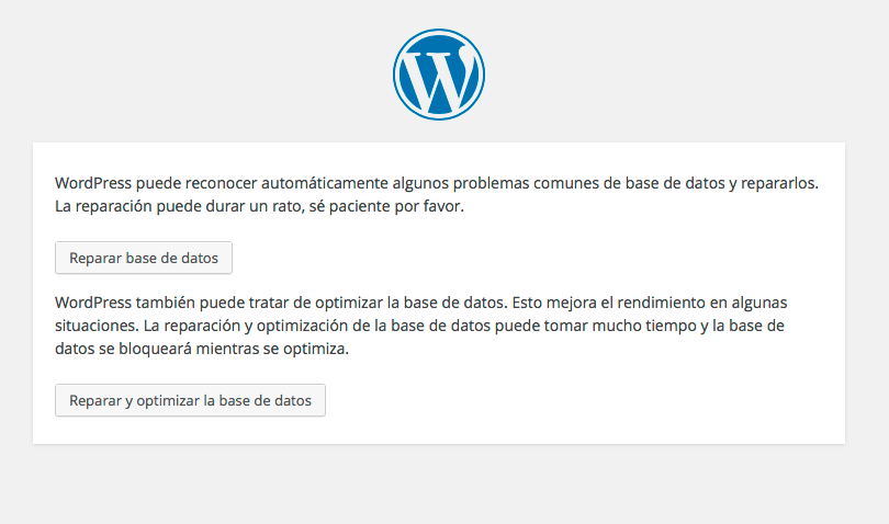 reparar la base de datos de wordpress