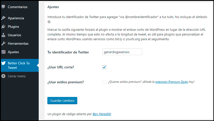 configurar better click to tweet
