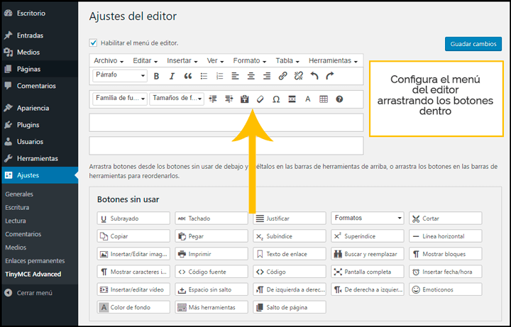 como justificar texto en wordpress