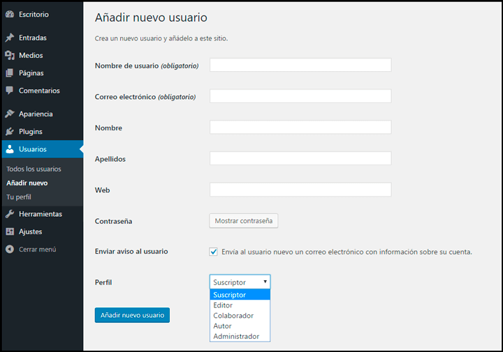 crear usuario en wordpress