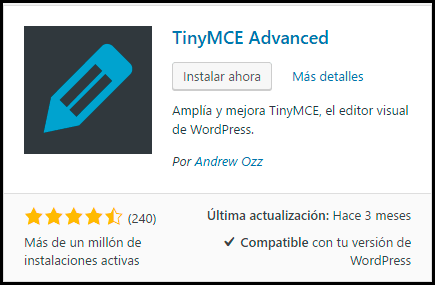 instalar tinymce advanced