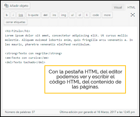 editor texto html en wordpress