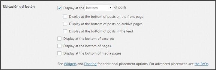 add to any share buttons ubicaciones de los botones