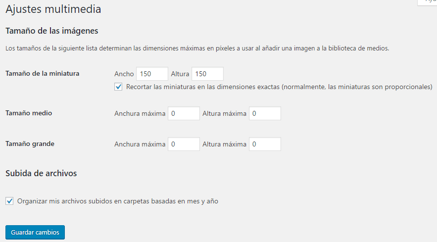 desactivar las miniaturas en wordpress