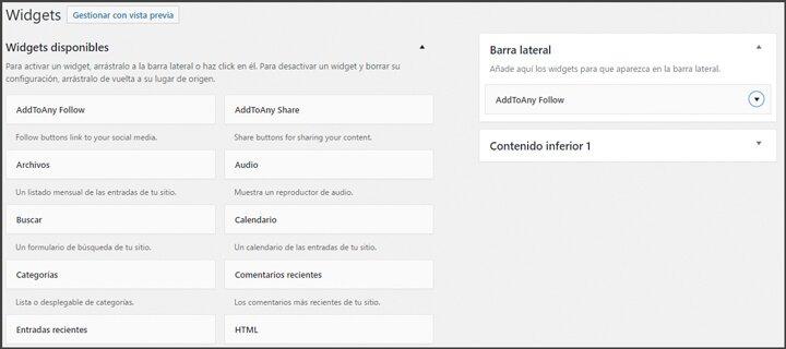 widget con iconos y botones de redes sociales