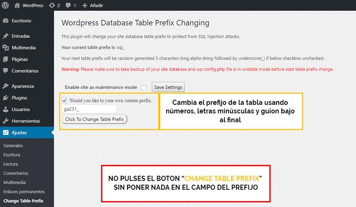 cambiar el prefijo de la base de datos con plugin