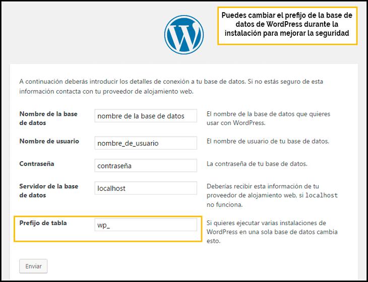 cambiar el prefijo de la base de datos instalación de wordpress