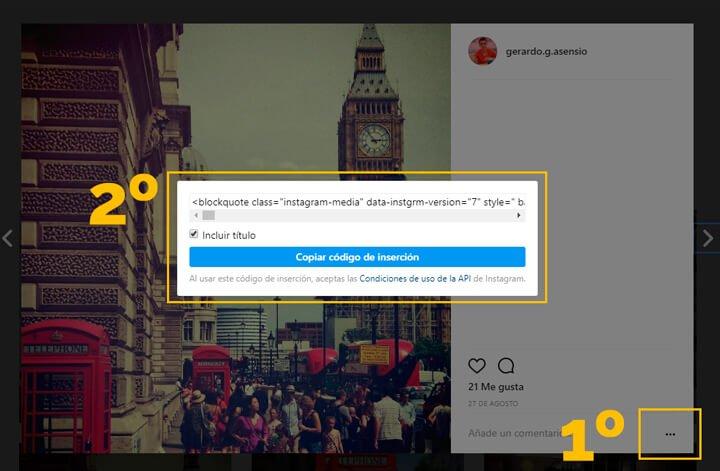 codigo para poner instagram en wordpress