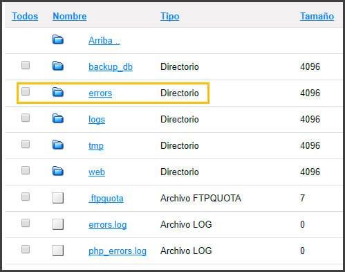 error 500 archivo log del servidor