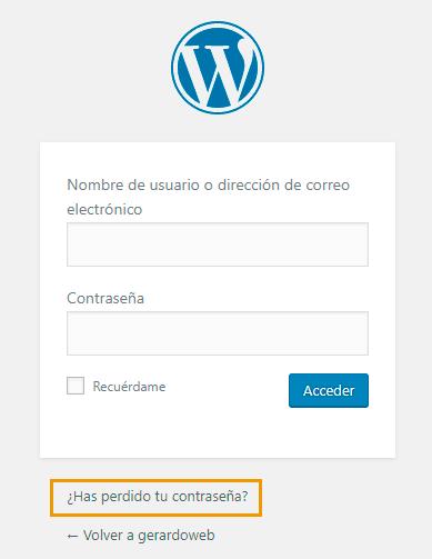 cambiar la contraseña de wordpress con el formulario del login