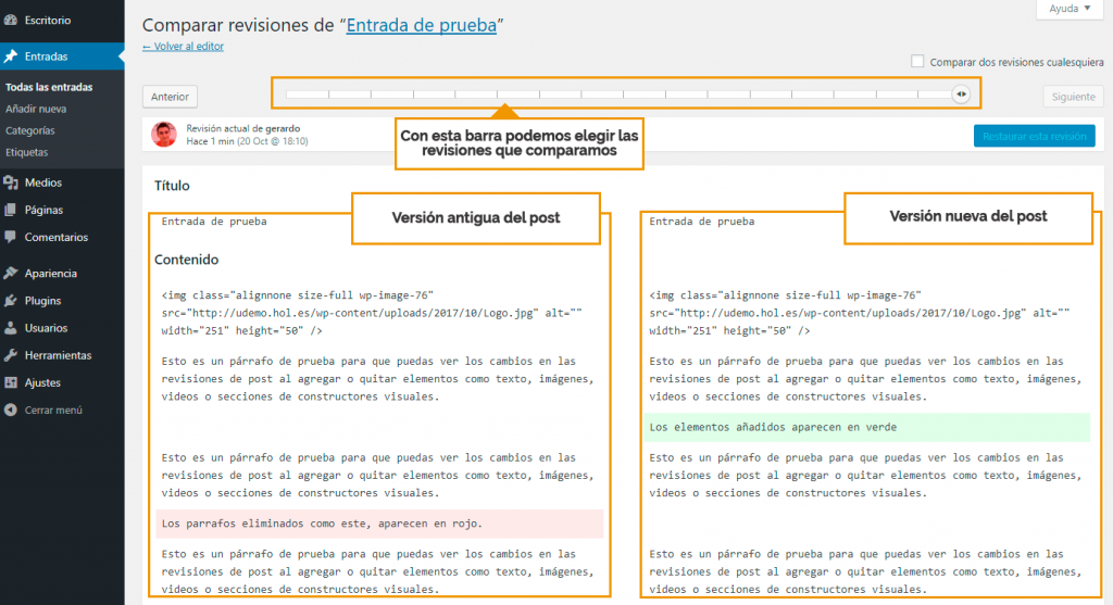 explorar revisiones de wordpress