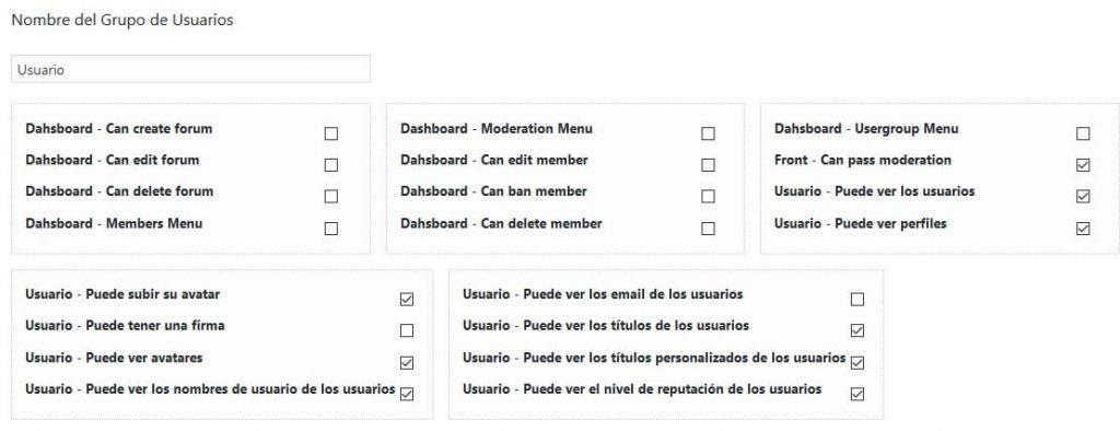 opciones para los usuarios del foro