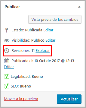 revisiones de wordpress