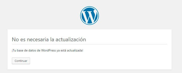 actualizar la base de datos despues de volver a la version de wordpress