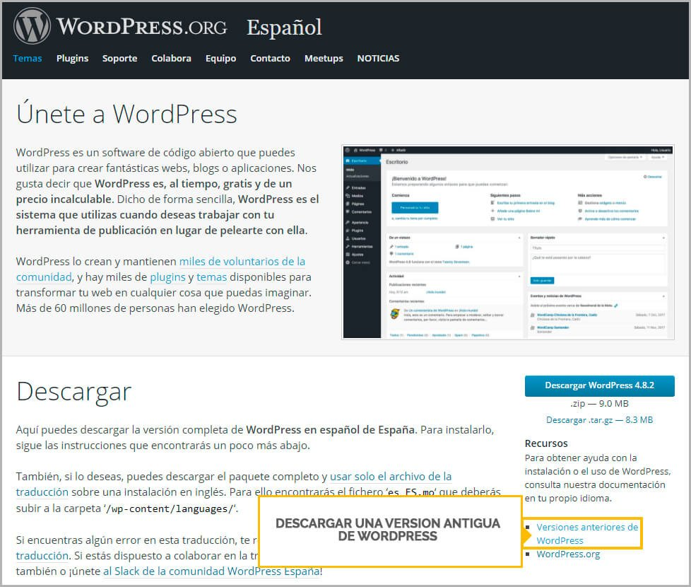 descargar version antigua de wordpress