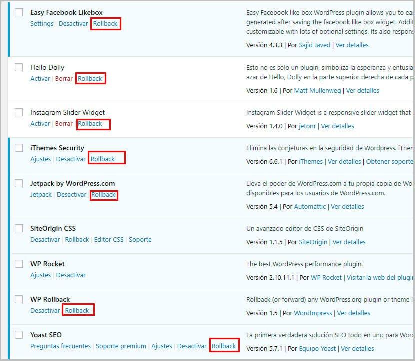 volver versión anterior de temas o plugin de WordPress