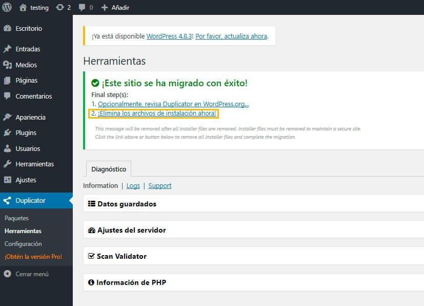 borrar el archivo zip y instal.php
