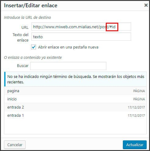 como crear un enlace ancla en wordpress