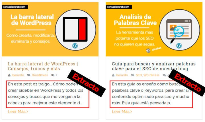 extracto de las entradas de wordpress
