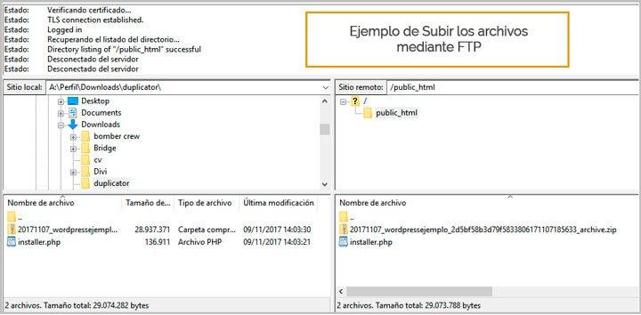 subir los archivos al servidor remoto