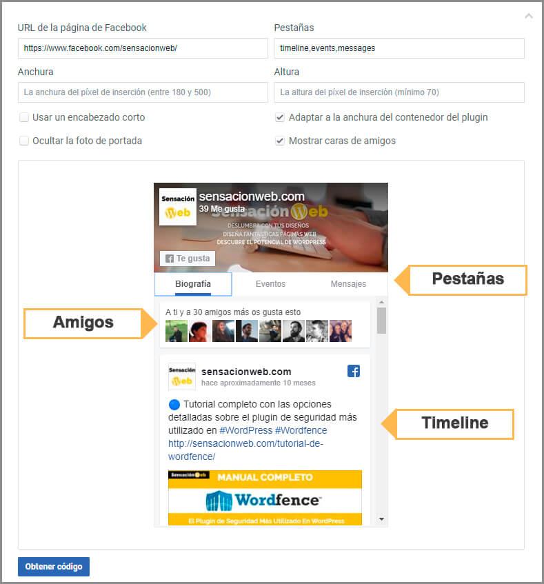 configurar el timeline de facebook para wordpress