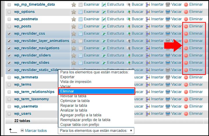 eliminar datos desde phpmyadmin