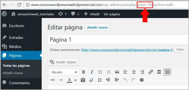ver la id de páginas y post en wordpress