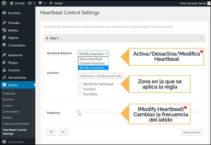 cómo configurar heartbeat control plugin